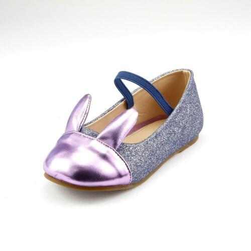 Girl/'s Party Dress Flat Shoes Shiny Glitter Rabbit Ear Bunny Easter Toddler size