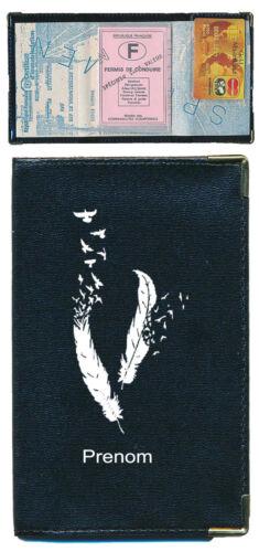 Pochette Etui Porte Carte Grise Plume souple noir personnalise avec un prenom