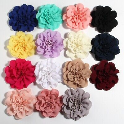 Fluffy Chiffon Mesh Lace Artificial Fabric Flowers For Baby Headbands 20pcs