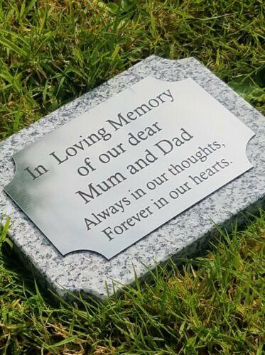 Grey Granite Headstone Scalloped Memorial Plaque Flat Grave Stone Marker