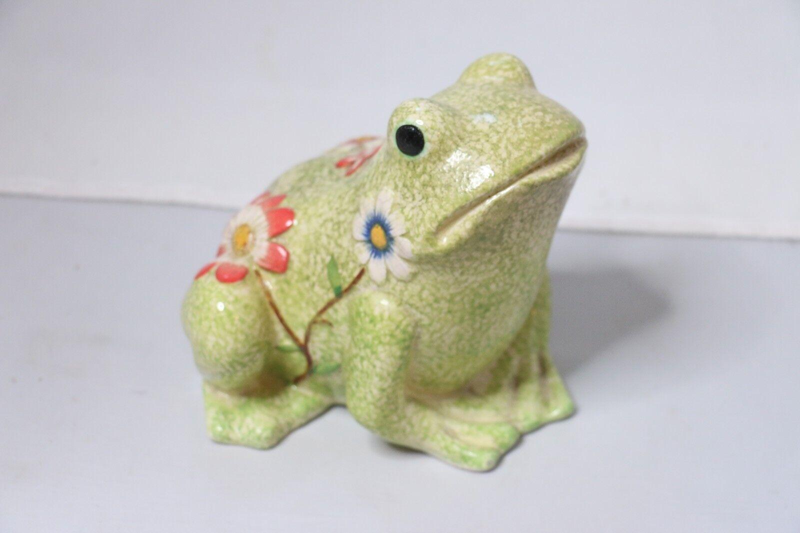 Collections Glass Flower Garden Frog Green