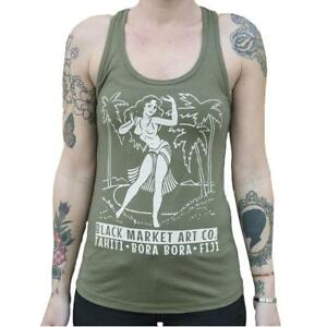 7d73bad49e1c2 Details about Polynesian Paradise Pin Up Hula Girl Women s Tank Top Tattoo  Art Military Green