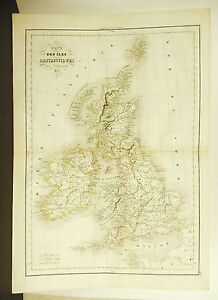 United-Kingdom-UK-Card-Antique-1838-Ancient-Map-Karte-17-11-16in-15in