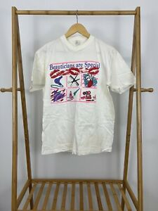 VTG-90s-Beauticians-Are-Special-Short-Sleeve-White-Cream-T-Shirt-Size-L