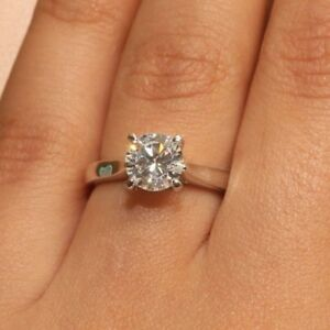 Diamond Engagement Ring 18k White Gold Finish 1 Carat Solitaire Size 5 5 Ebay