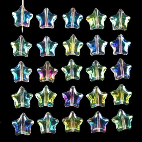 20Pcs 6g Carved Blue Rainbow Titanium Crystal Star Pendant Bead 8x8x3mm 881SJ