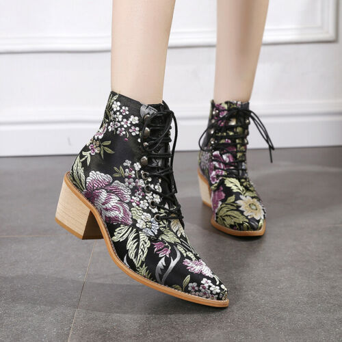 Women Ankle Boots Lace Up Pointed Toe Shoes Block Heel Floral Embroidery Booties