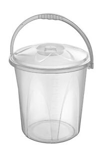 Large 20L Clear Plastic Bucket With Lid Carry Handle Storage