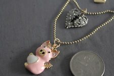 N133 BETSEY JOHNSON FLYING PIGGY Whole Pig with Angel's Heart Wing Necklace US