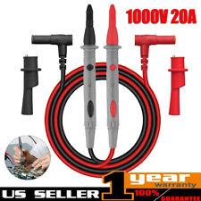 1000v 20a Probe Test Lead Alligator Clip Fr Agilent Fluke Clamp Multimeter Cable