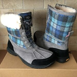 3e5e11e0923 Details about UGG Butte Surf Blue Plaid Waterproof Leather Wool Winter Snow  Boots Size 15 Mens