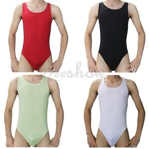 f45a88c7e5be Men s Underwear Thong One-piece Lingerie Sheer Mesh Undershirt Tank ...