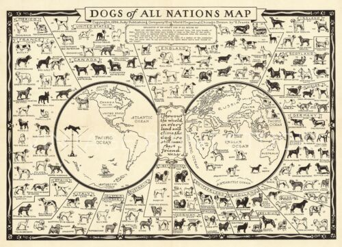 Dogs of All Nations 1936 Vintage Pictorial Pet Map Giclee Canvas Print 40X30