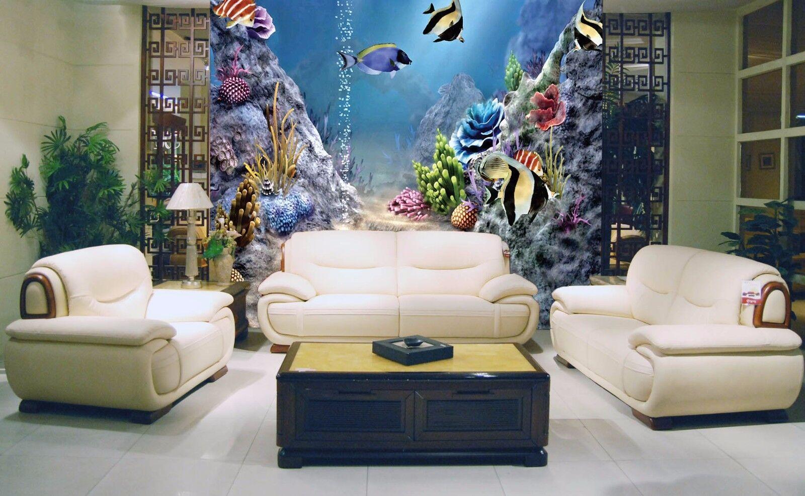 3D Tropisch Fisch Meer 877 Tapete Wandgemälde Tapete Tapeten Bild Familie DE