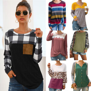 New-Women-Long-Sleeve-Shirt-Tops-Ladies-Loose-Plaid-Striped-Tunic-Blouse-Jumper