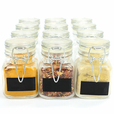 12 Mini Clip Top Glass Spice Jars Herbs Preserve Glass Spice Jars