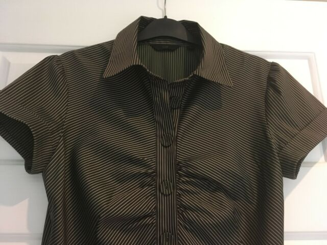 WOMENS CUE SMART/WORKWEAR COTTON BLEND, S/SLEEVE BLOUSE, SIZE 8,  BROWN #912