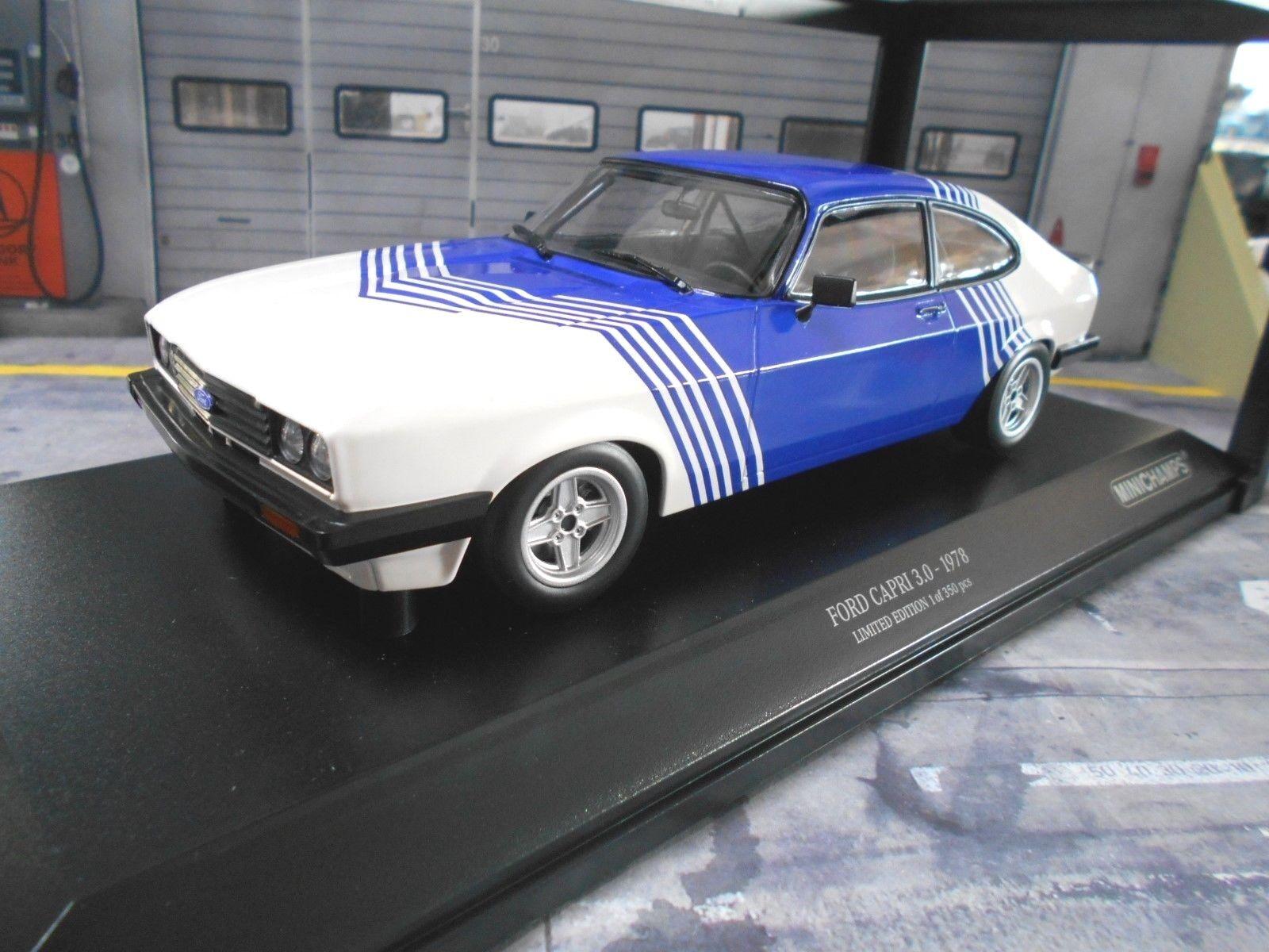 Ford Capri 3 III 3.0 S Sport Coupé Blanc Bleu 1978 Minichamps 1 18