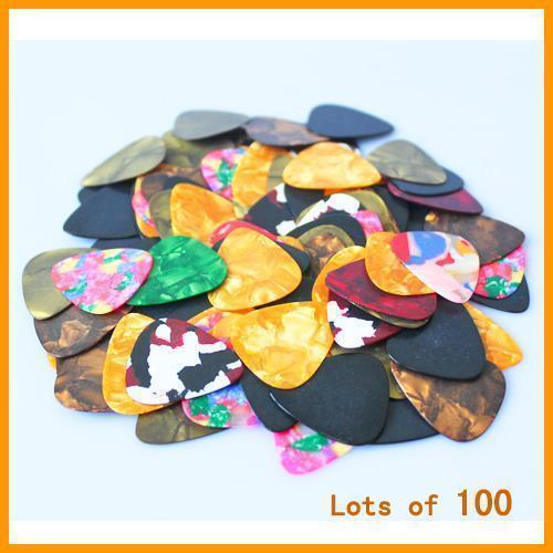 New-100pcs-Guitar-Picks-Acoustic-Electric-Plectrums-Celluloid-Assorted-Colors