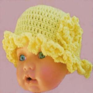Hand crocheted baby girls easter bonnet hat lemon knit shower gift image is loading hand crocheted baby girls easter bonnet hat lemon negle Gallery