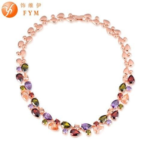 Chokers Rose Gold Mona Lisa Luxury Cubic Zirconia Colorful Stone Necklaces