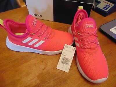 nwt girls adidas lite racer rbn k running shoes size 3 youth pink/white/neon yel | eBay