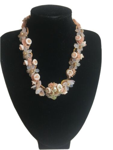 Delicate Pastel Pink Beaded Choker Necklace