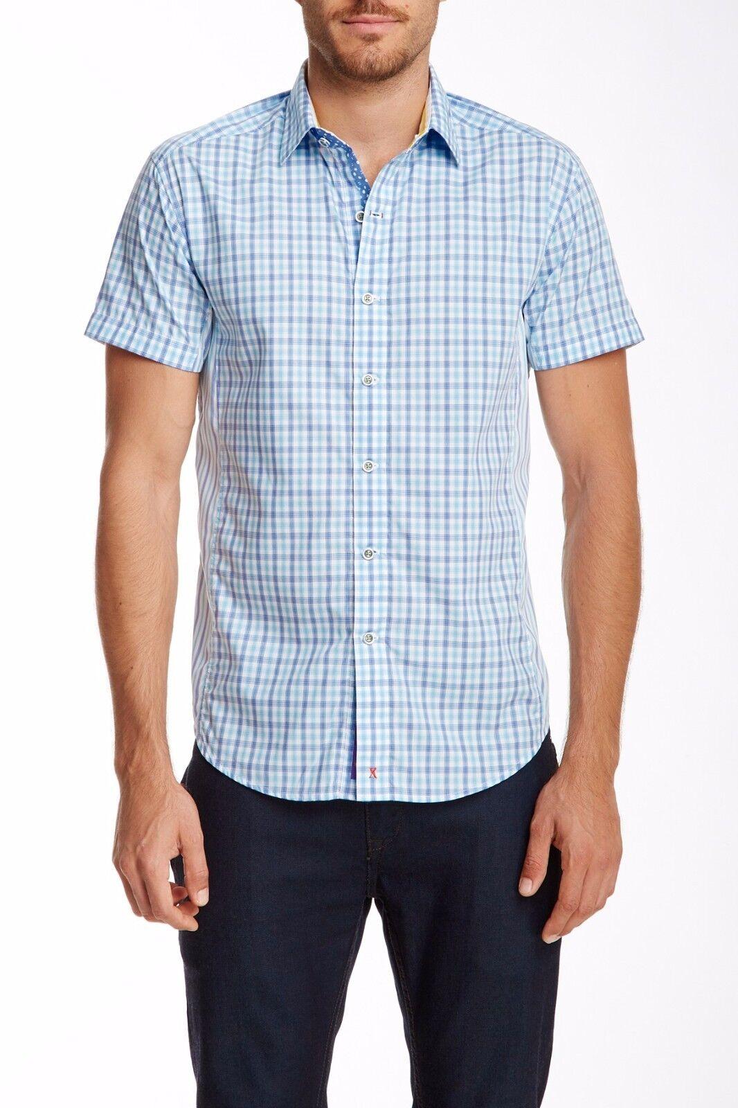 Robert Graham Mens Fields Plaided Short Sleeve Shirt Größe 2XL XXL TailGoldt Fit