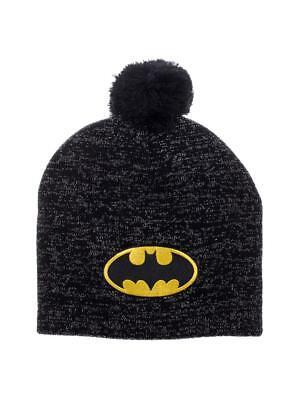OFFICIAL DC COMICS - BATMAN SYMBOL BLACK SPARKLY EFFECT POM BEANIE (NEW)
