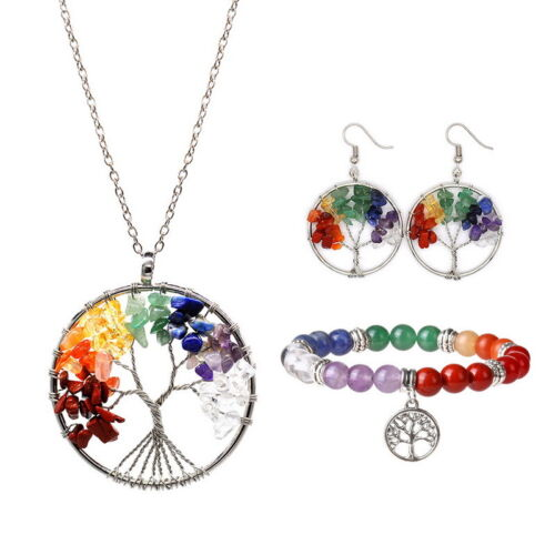 3* Natural Crushed Stone Tree of Life Pendant Necklace  Earring Xmas Gift