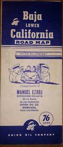 "1951 Union Oil Map, Baja California - with Ensenada city map - Excellent 9""x24"""