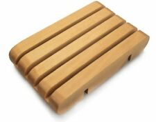 Natural wood Soap tray dish bath accessory slotted holder Home Decor display