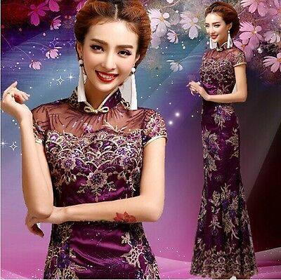 Purple Chinese's Cheongsam Formal Evening Prom Party Dress Ball Gown Gift LF170