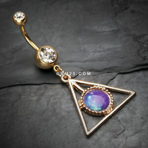 Details About Golden Galaxy Triangle Belly Button Ring
