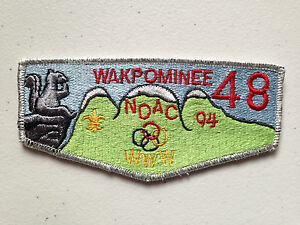 WAKPOMINEE-OA-LODGE-48-SCOUT-SERVICE-PATCH-FLAP-1994-NOAC-DELEGATE-SMY-THICK