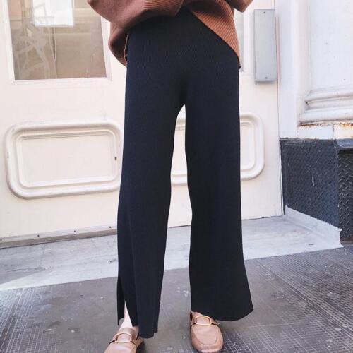 allentati Comodo cashmere gamba larghi casuali del donne dei dritto larghi delle pantaloni della Pantaloni lunghi qX0Ox4