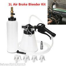 1L Air Brake Bleeder Kit Pneumatic Clutch Extractor Fluid Fill Bottle 4 Adapters
