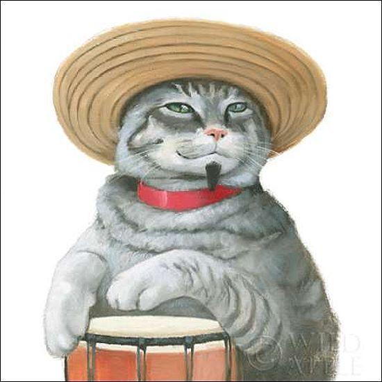 Myles Sullivan  Cattitude II Keilrahmen-Bild Leinwand Katzen bunt lustig Hut