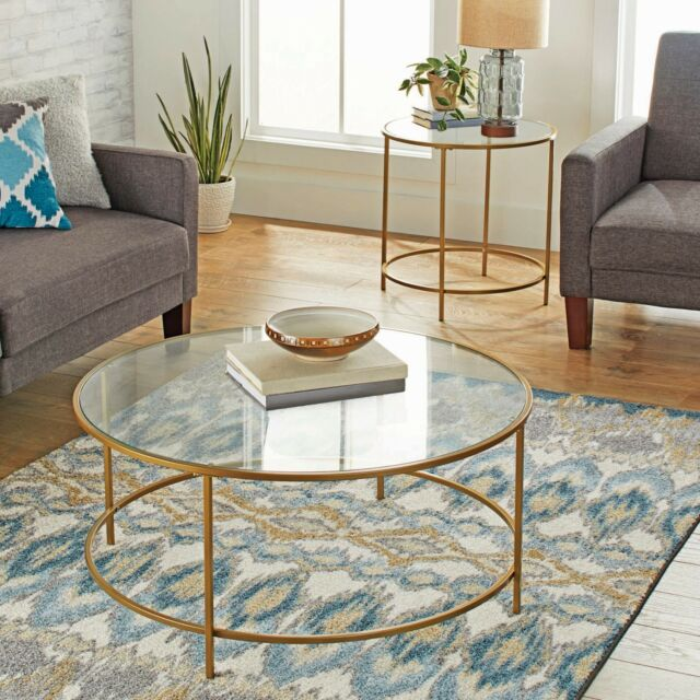 Modern Glass Coffee Table Round Contemporary Living Room Tables Gold Finish