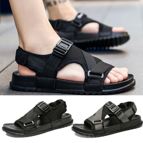 Mens Sandals Shoes Slip on Beach Water Sports Casual Adjustable Straps Size 7-12