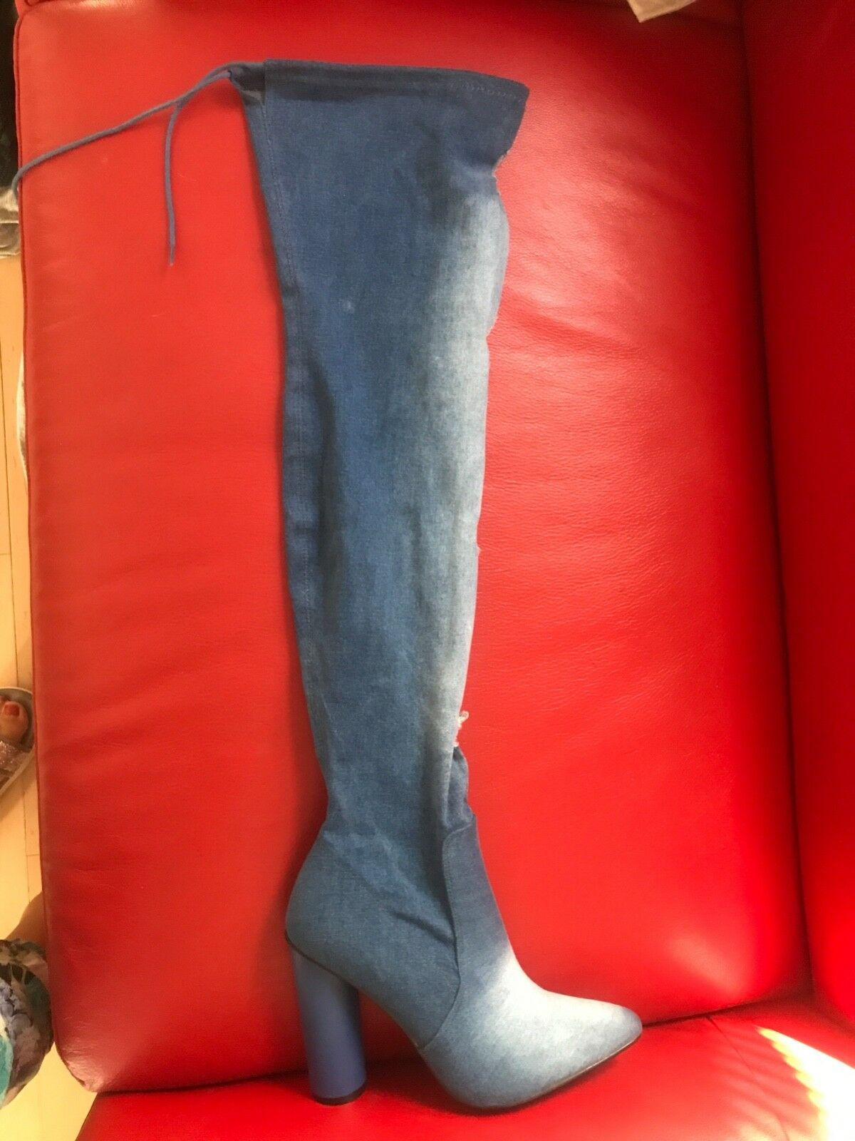Stunning over the knee stretchy denim boots 8 bluee New