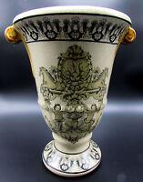 Ceramic Fluted Decorative Vase 10-inch Home Decor Cherubs Beige Large Kirklands
