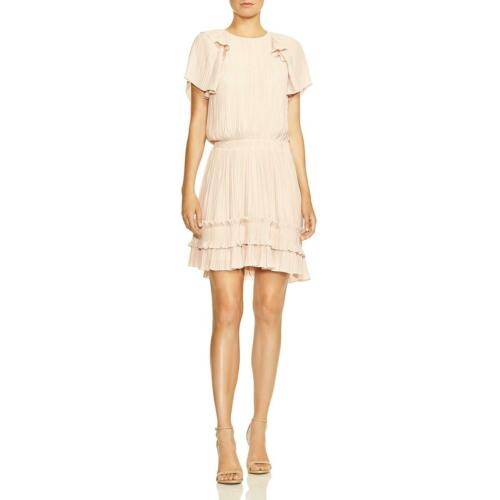 Halston Heritage Womens Smocked Pleated Ruffle Hem Party Dress BHFO 4763