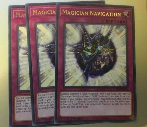 YUGIOH LED6-EN011 MAGICIAN NAVIGATION x3 PLAYSET RARE IN HAND SHIPS NEXT DAY!