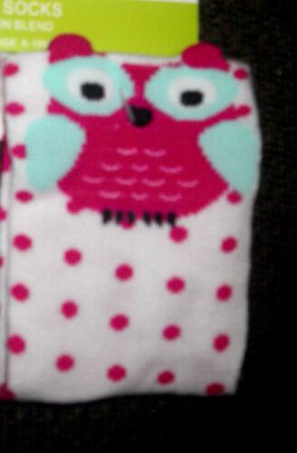 Baby Berry Pink Blue Owl Ear Detailed pink polka dot Soft Cotton Blend Socks