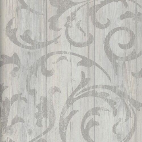 vlies tapete antik holz rustikal ornament muster barock grau beige shabby ebay. Black Bedroom Furniture Sets. Home Design Ideas