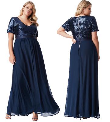 Goddiva Black//Gold Short Sleeve Chiffon Sequin Maxi Evening Dress Formal Ball