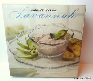 Anchor-Hocking-VChip-Dip-Bowl-Set-Savannah-Clear-Glass-1997-Vintage