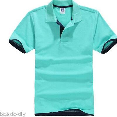Hot Men's New Fashion Short Sleeve Polo Collar Work T-shirt Cotton Shirt Tops