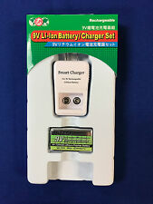 9v Smart Charger with 1pc Hitech Lion720mAh*Rechargeable*Tech-USA/Japan.CE RoHs